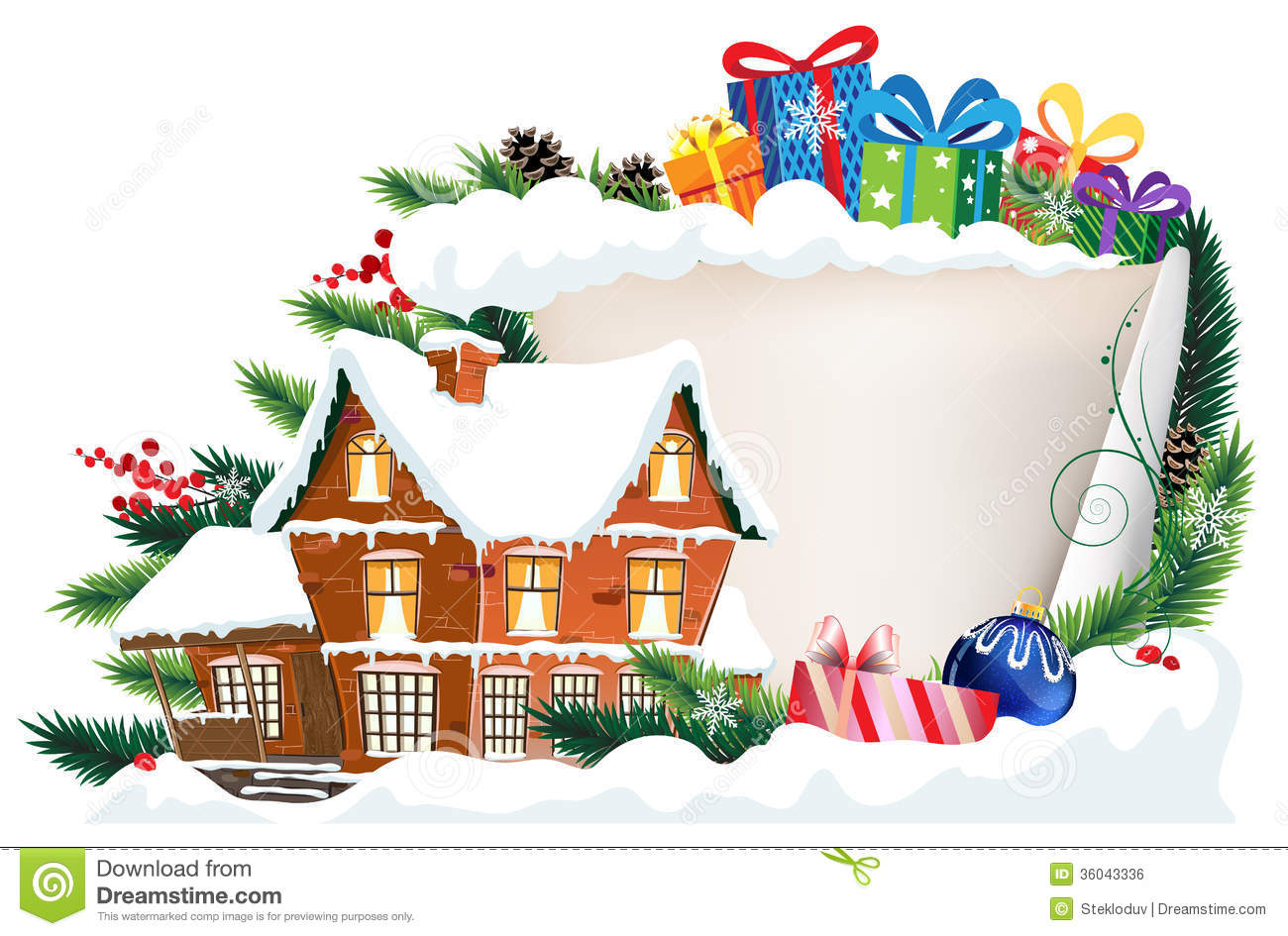 Brick House And Christmas Gifts Stock Vector Image 36043336