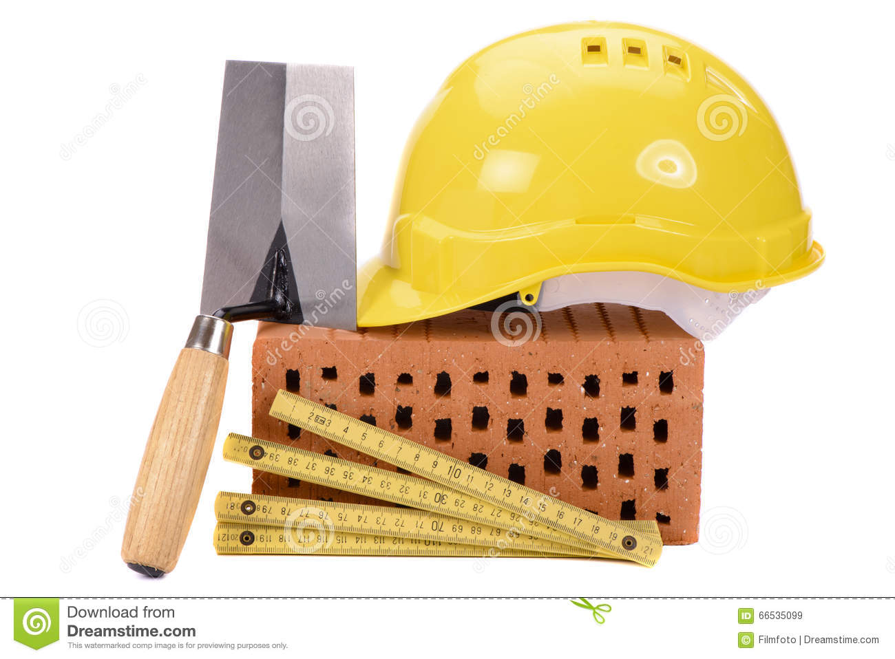 Brick For House Construction And Tool Stock Image Image