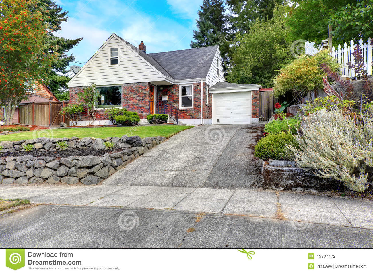 Landscaping Front Of Brick House : Brick house with curb appeal stock photo image
