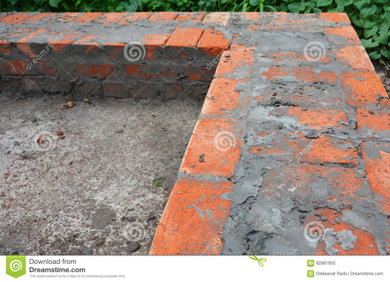 Brick House Foundation Construction Bricklaying House Wall Stock Photo Image Of Outdoor Cement 82881850