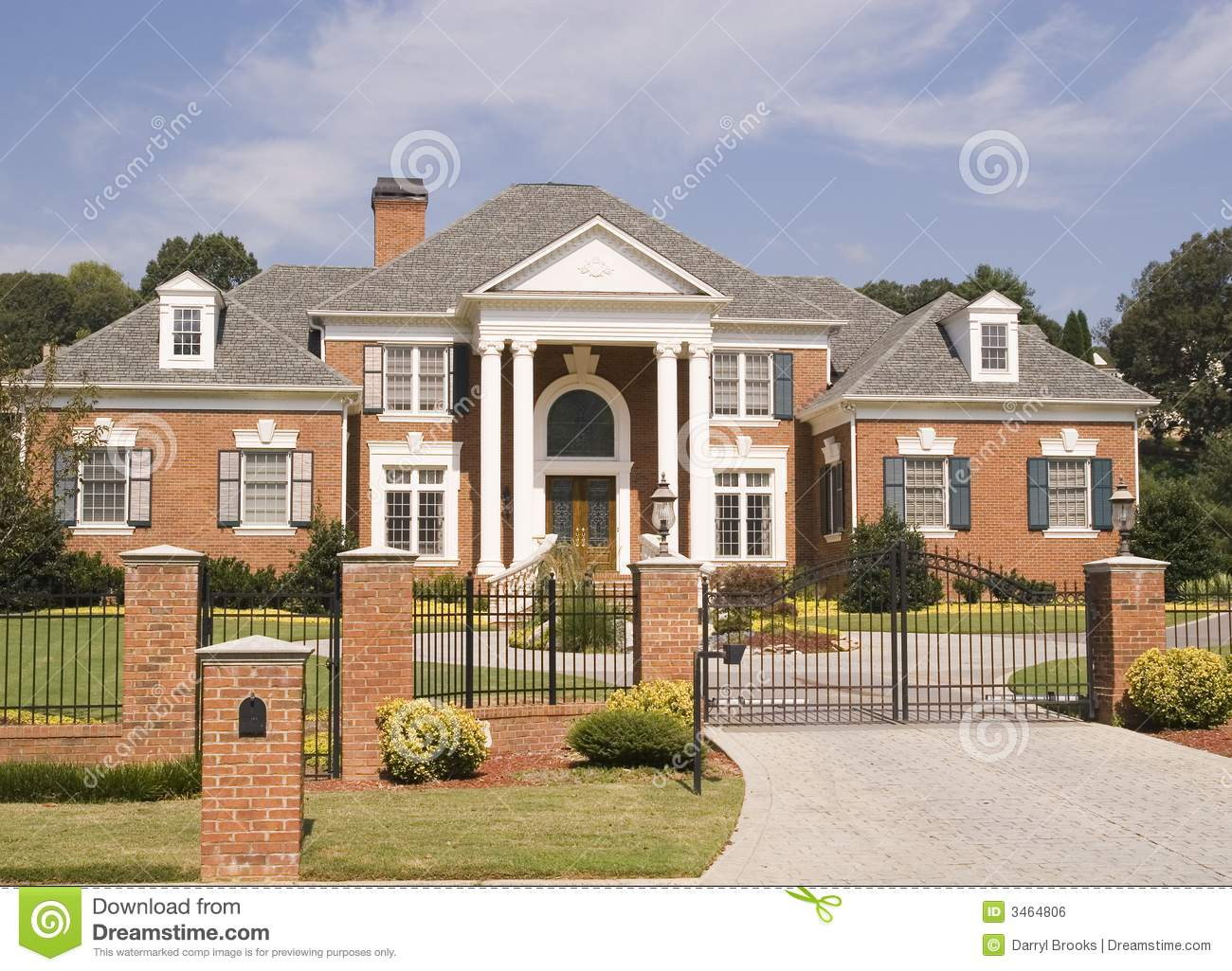 Brick House Iron Fence Stock Photo Image Of Residential