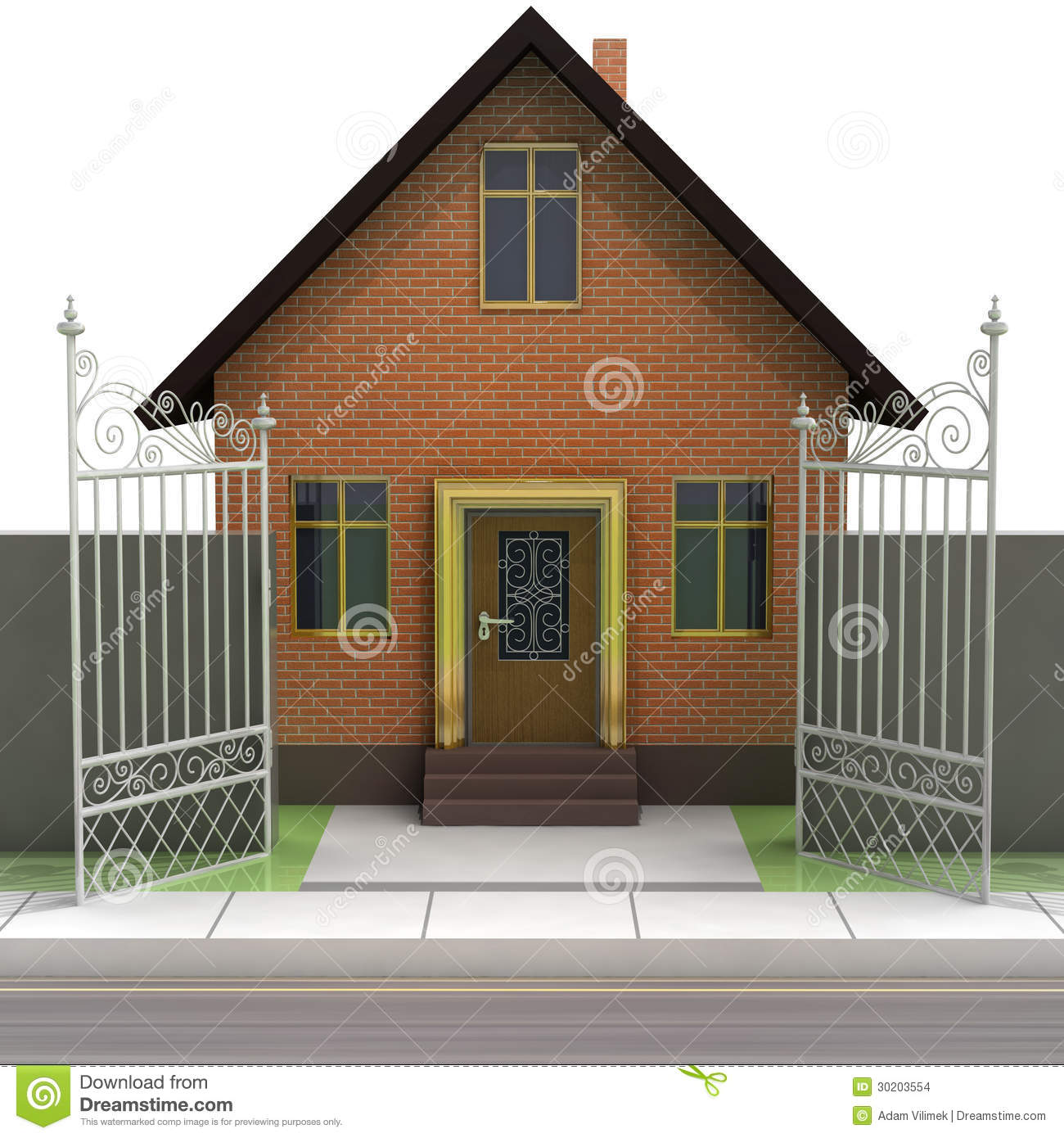 Brick House With Opened Iron Fence Front View Stock Images