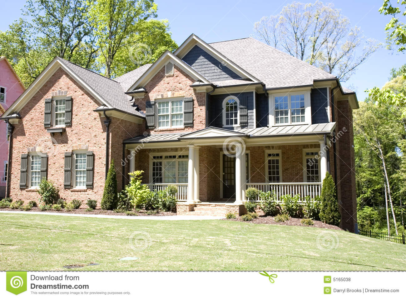 Brick house with porch stock photo image of veranda for Brick porch designs for houses