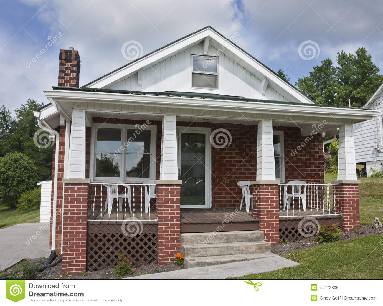 Brick House With Porch Stock Image Image Of Structure