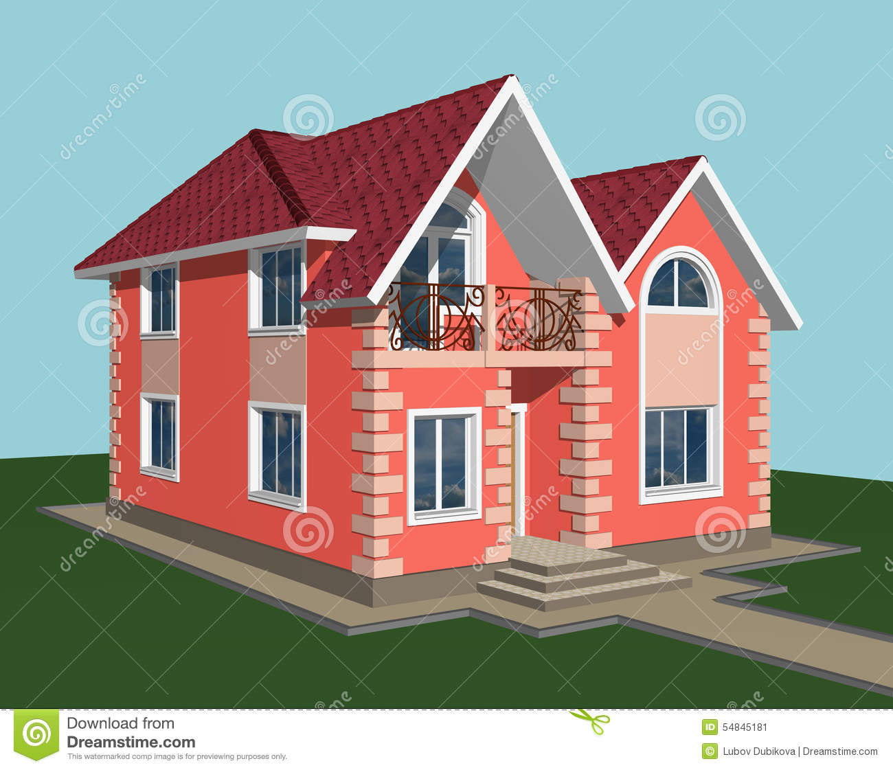 Two Storey Residential House With Attic: Brick House Stock Illustration