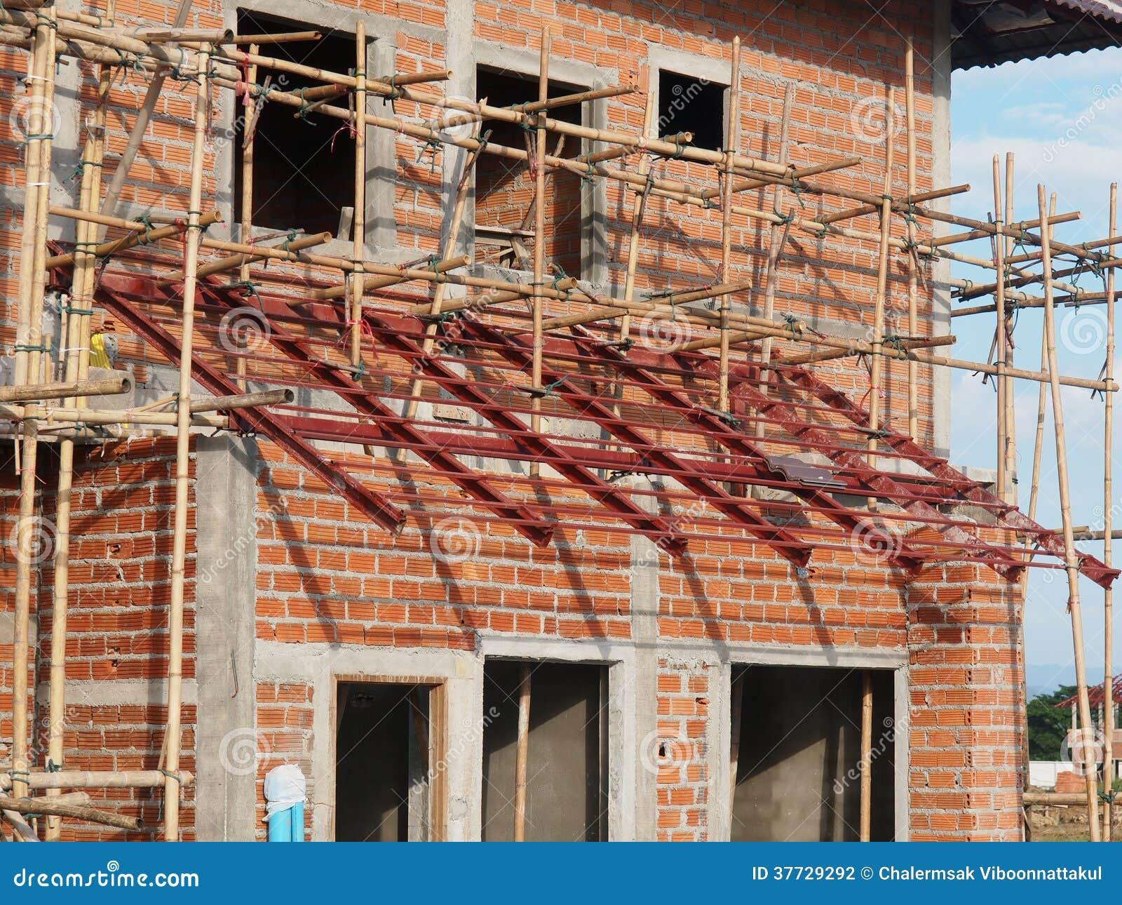 Brick house under construction stock photography image for Brick house construction