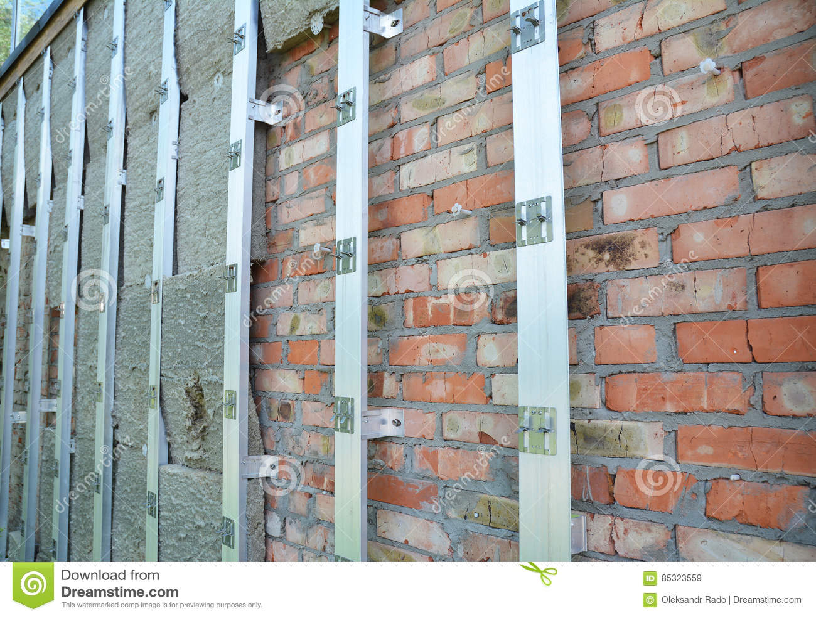 Brick House Wall Repair And Rock Wool Or Mineral Wool Wall