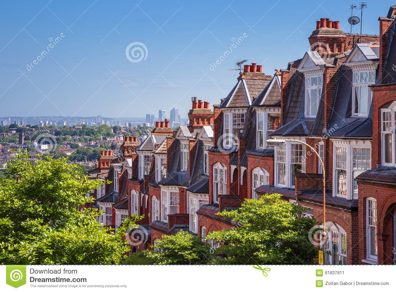 Brick Houses Of Muswell Hill And Panorama Of London With