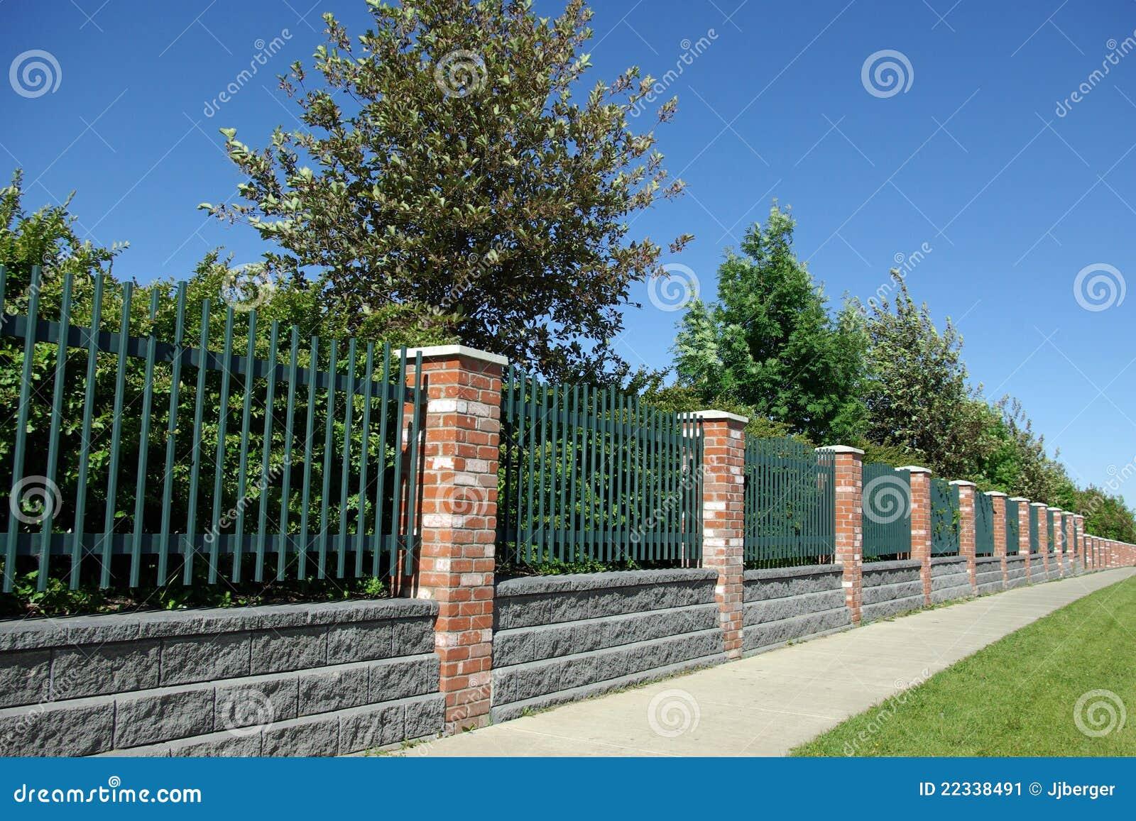 Brick And Iron Fence Stock Image Image 22338491