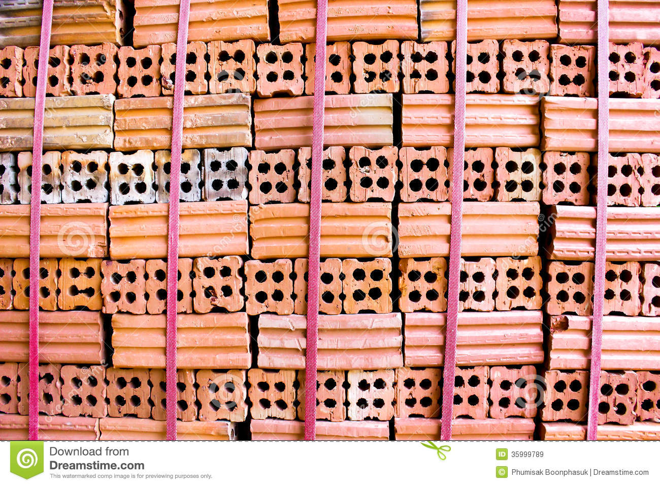 Brick kiln. collection set of red bricks stack in oven factory before ...