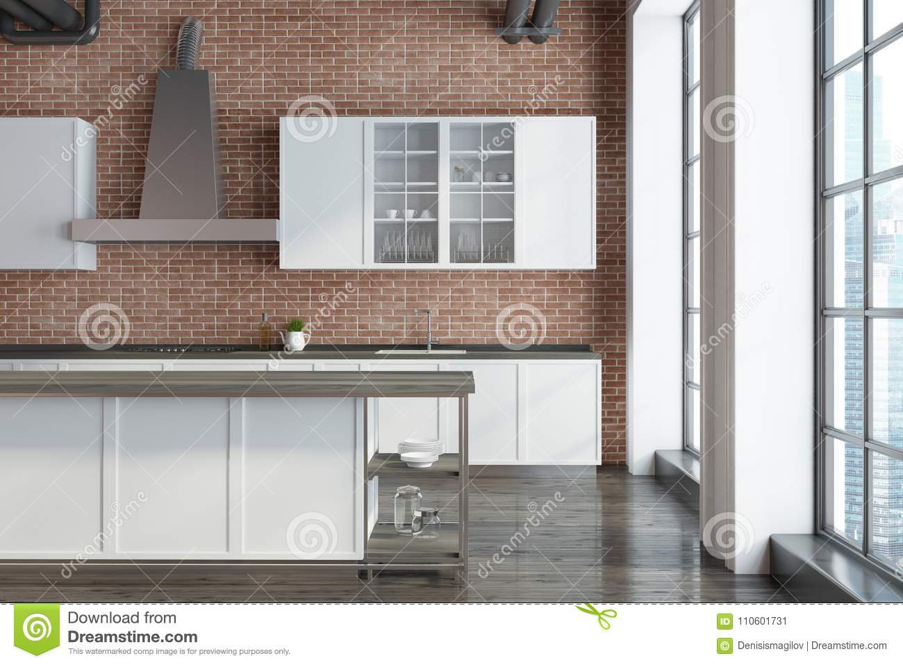 Brick Kitchen, White Countertops Close Up