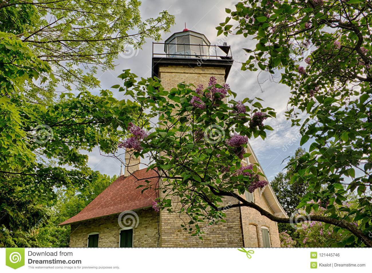 Eagle Bluff Lighthouse In Door County Wisconsin Stock Photo Image