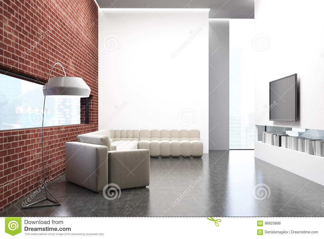 Brick Living Room, A Sofa, A TV Set And A Poster Stock Illustration ...