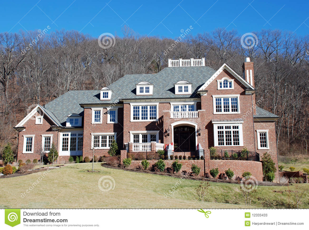 Brick luxury home 29 stock image image of expensive for Mansion designer