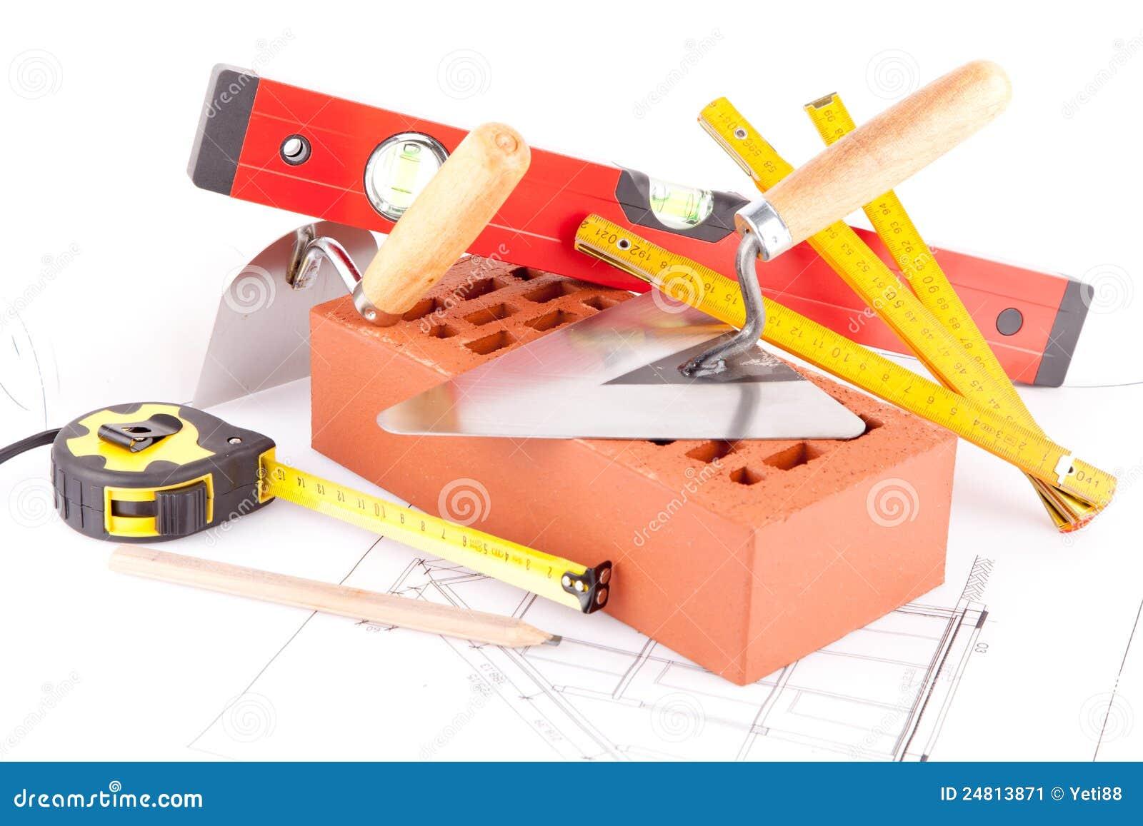 Brick and mason construction tools stock image image for Dessin de construction du meuble