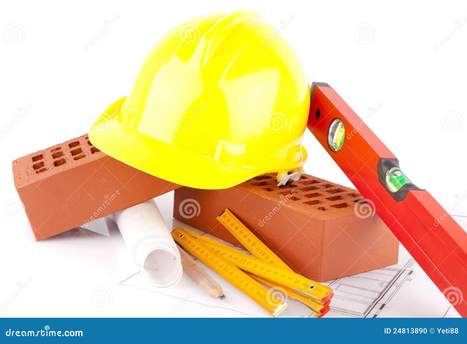 brick and mason construction tools stock photo   image