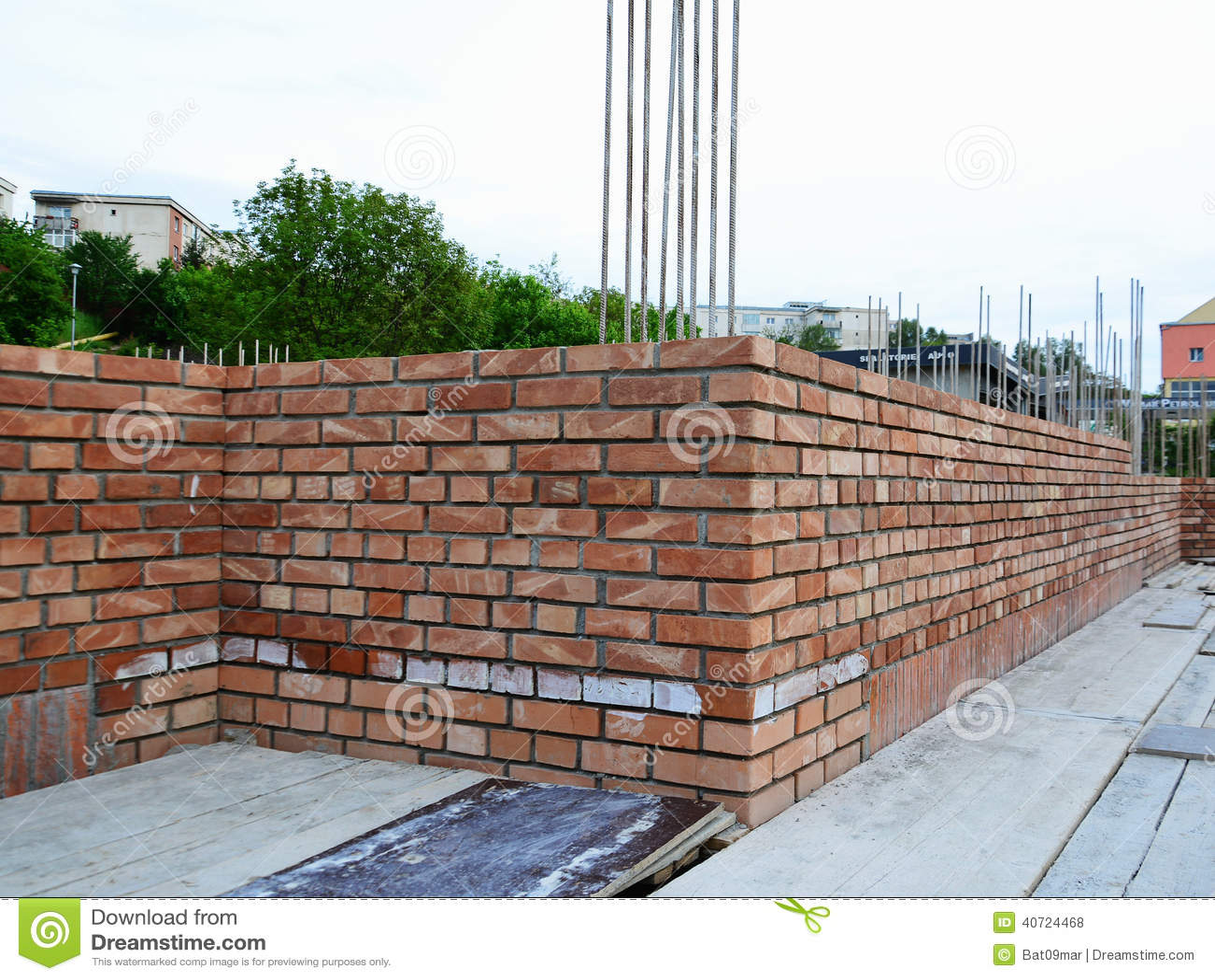 Brick masonry construction site stock photo image of for Brick house construction