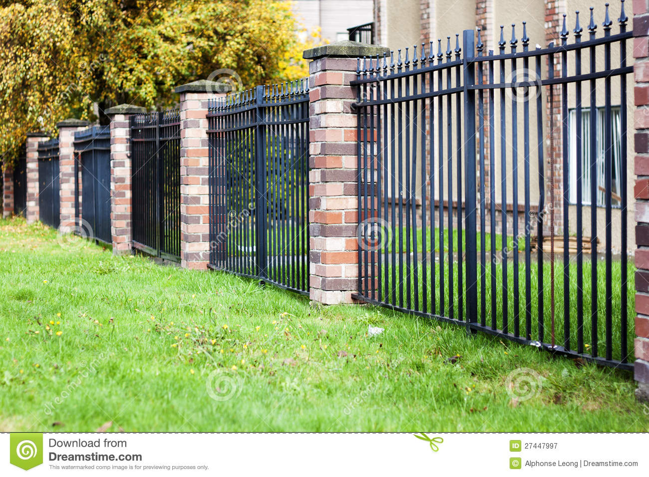 brick fence metal