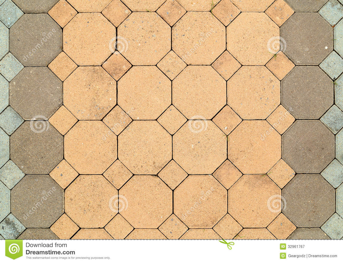 Brick Octagonal Walkway Pavement Texture Stock Image