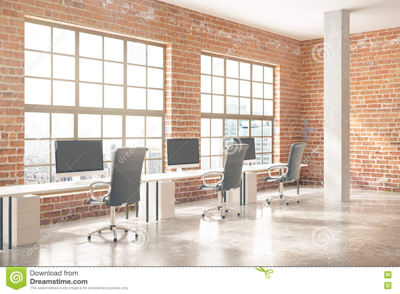 Coworking Office Interior With Computers, Concrete Floor, Red Brick Walls,  Columns And Windows With City View. 3D Rendering