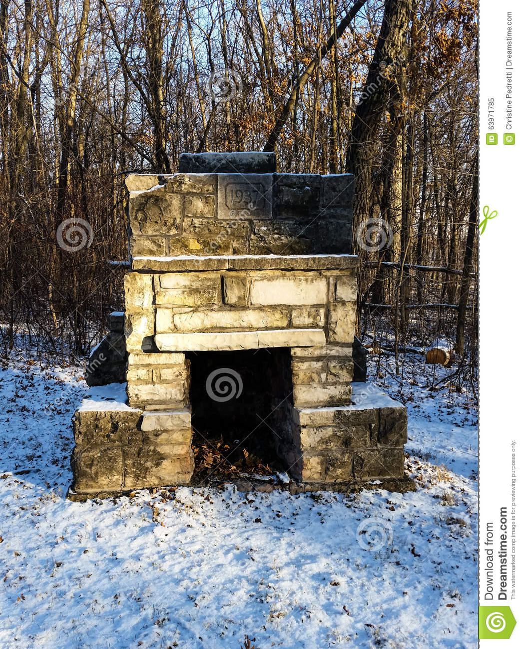brick outdoor fireplace in winter stock photo image 63971785