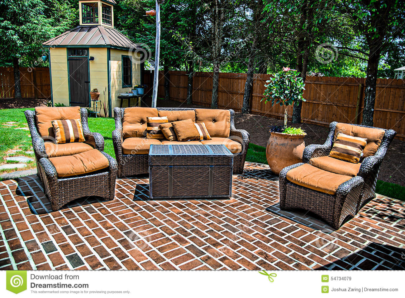 Brick Patio And Furniture Stock Photo - Image: 54734079