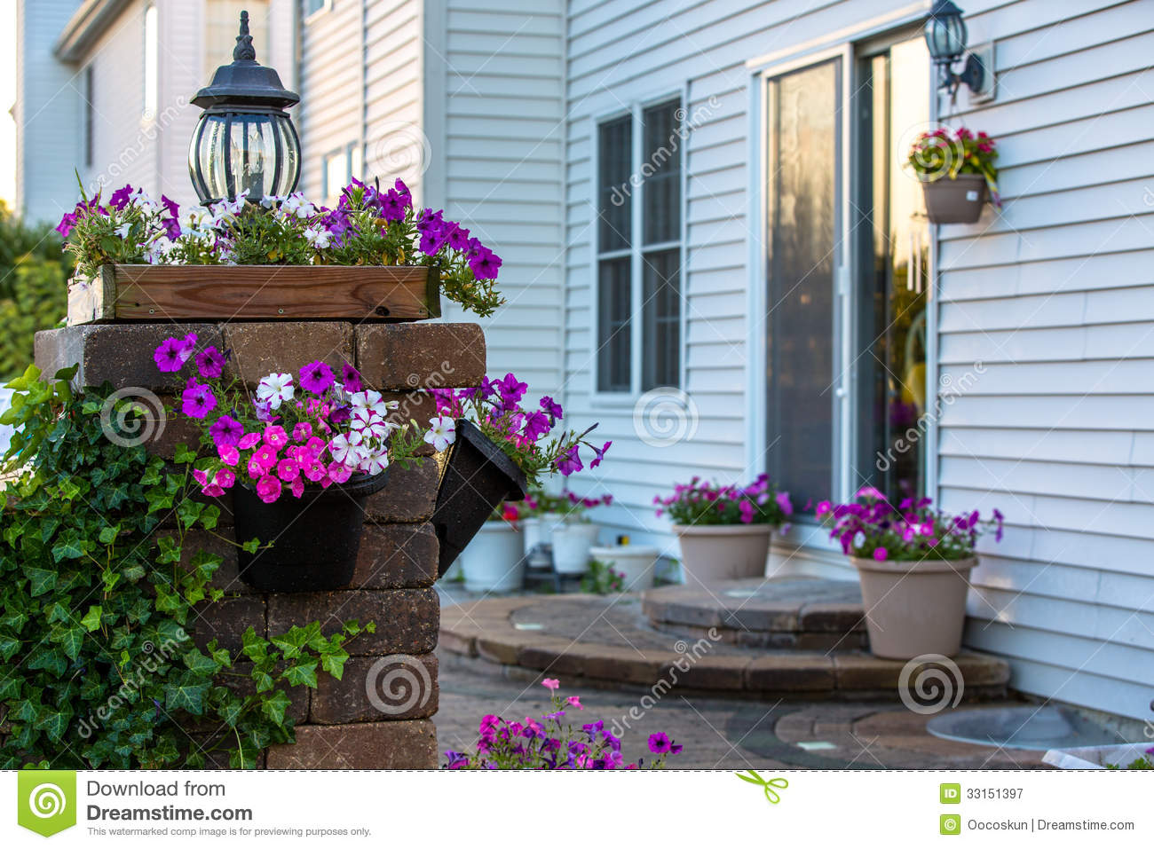 Download Brick Patio And Pillar With Flowers Stock Image   Image Of Brick,  Floral: