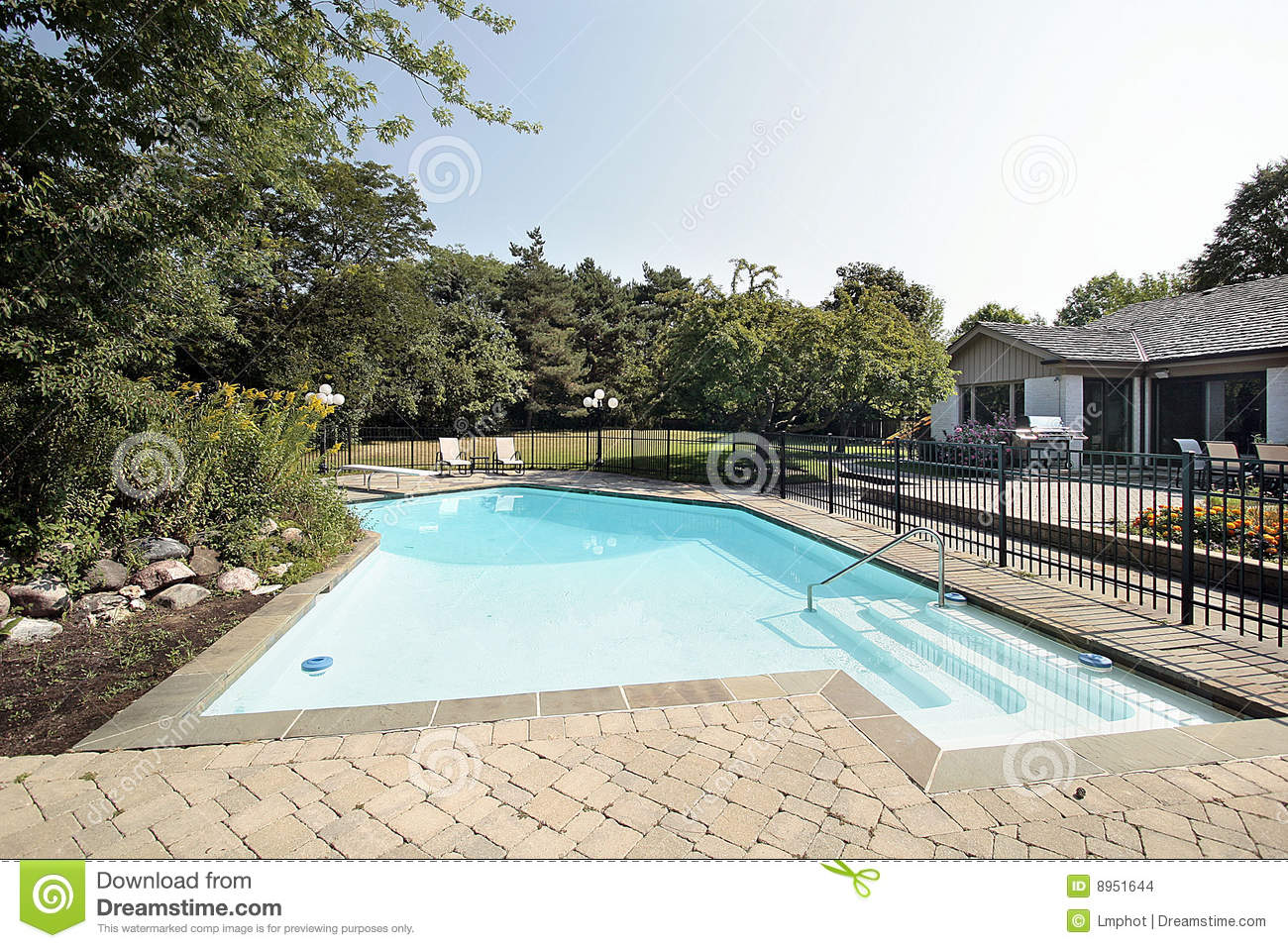 Brick Patio And Swimming Pool Stock Images Image 8951644