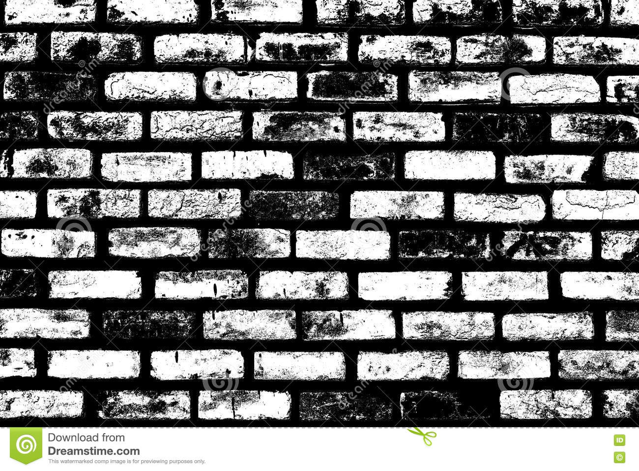 Black And White Brick Wall Texture Background . Royalty