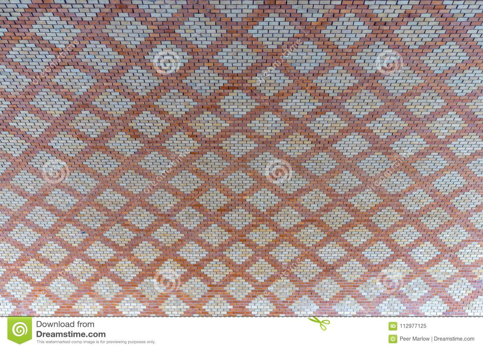 Brick pattern under the Theodor Heuss Bridge in Mainz City. Rhineland Palatinate Germany.