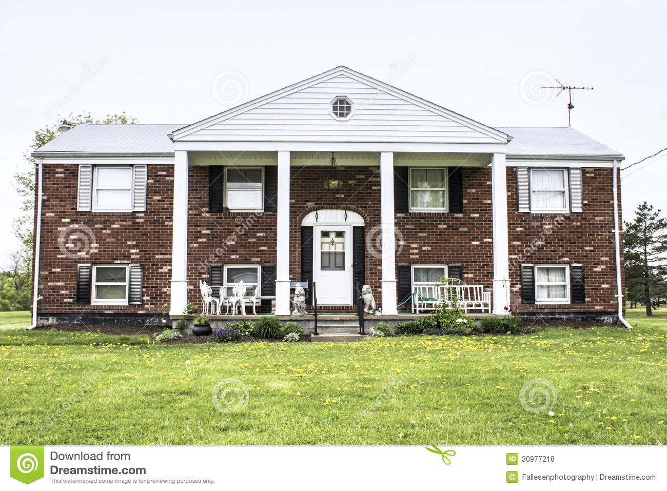 Brick raised ranch stock photo image of residence house for Large ranch style homes