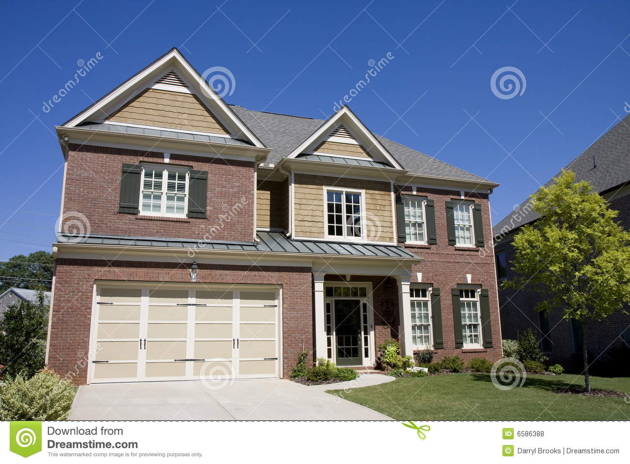 Brick and siding house with blue sky stock photo image for Blue siding house