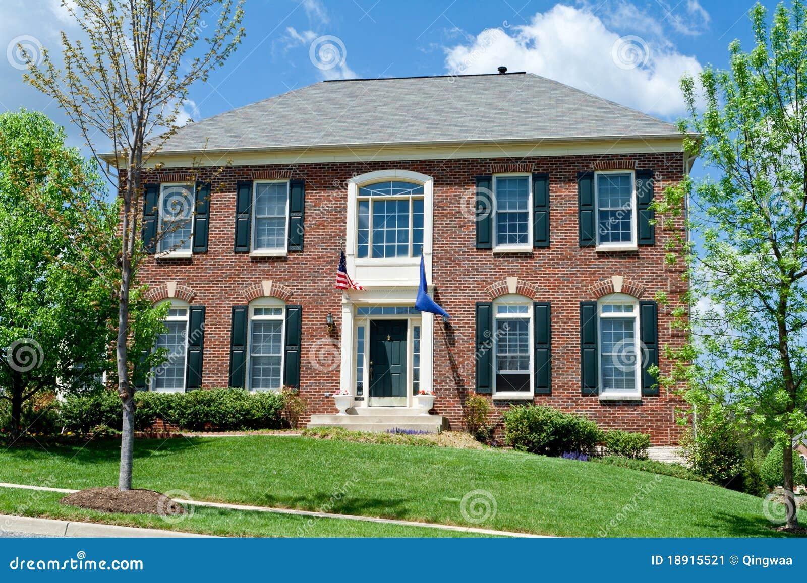 Brick Single Family House Home Suburban Md Usa Stock Image