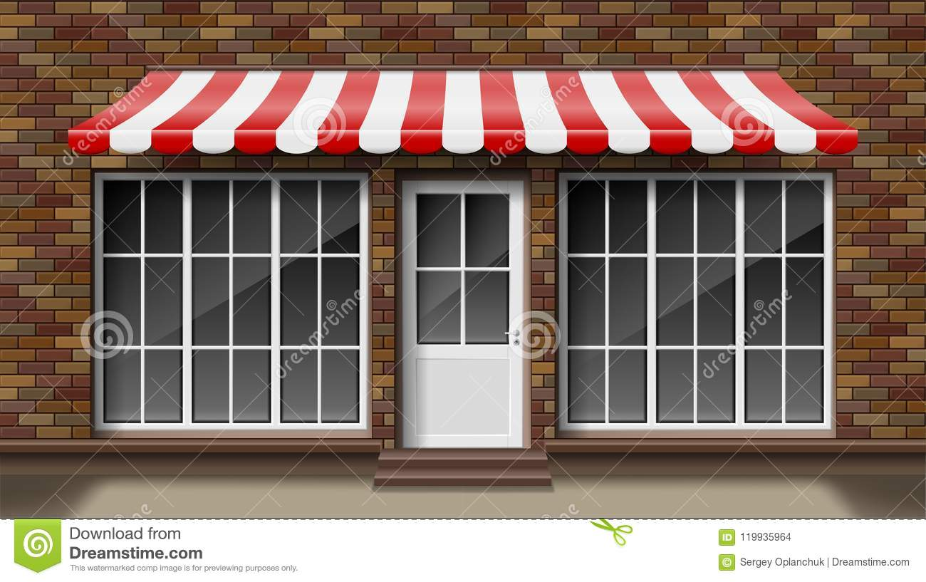 Brick Small 3d Store Front Facade Template With Awning Exterior Empty Shop Or Boutique With Big
