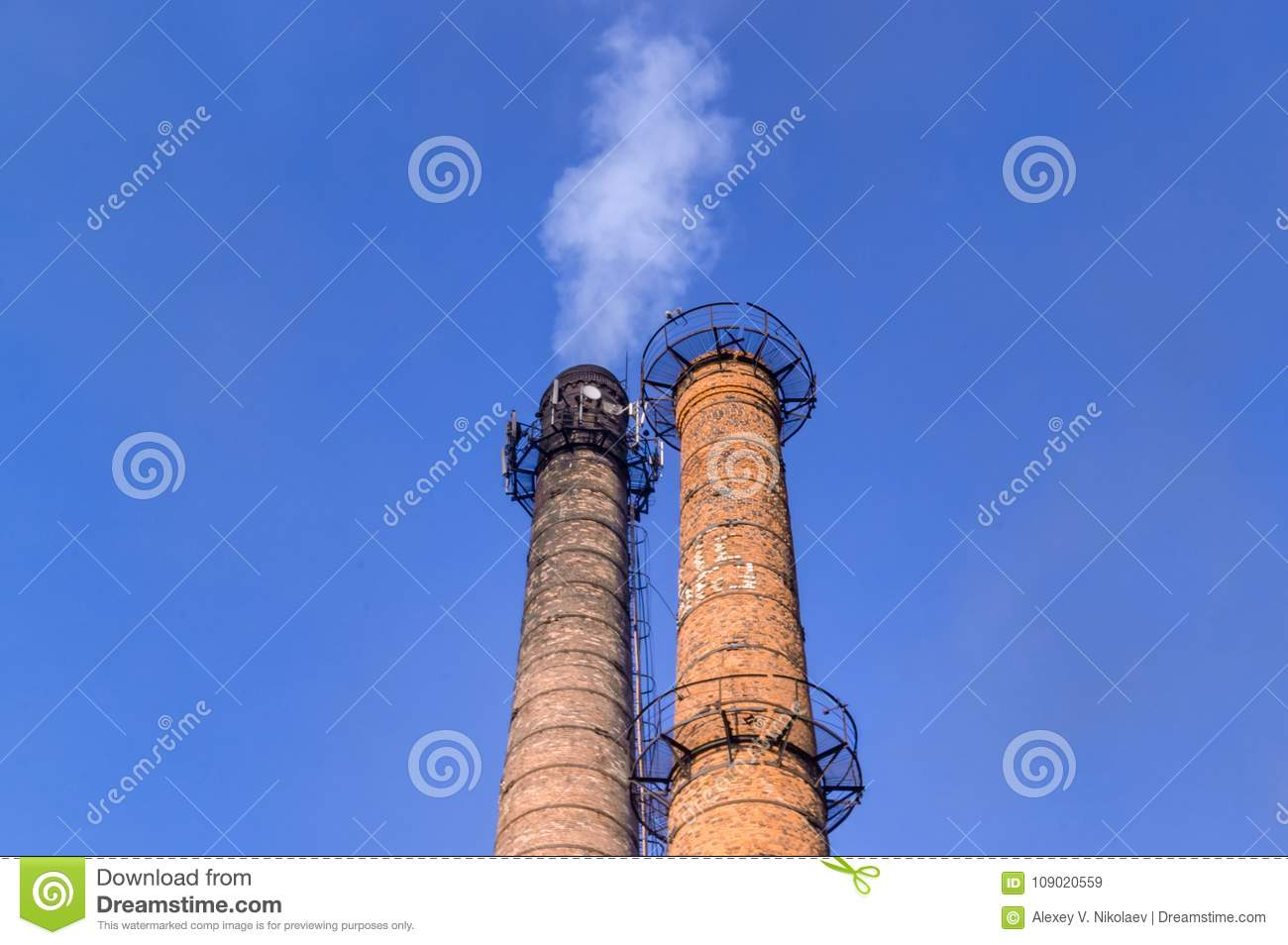 Brick smoke stack 3 stock image  Image of engineer, idle - 109020559