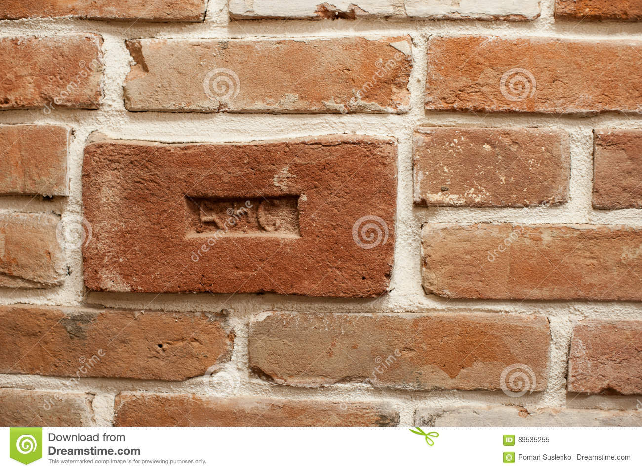 brick with a stamp in the wall in the loft style stock image image