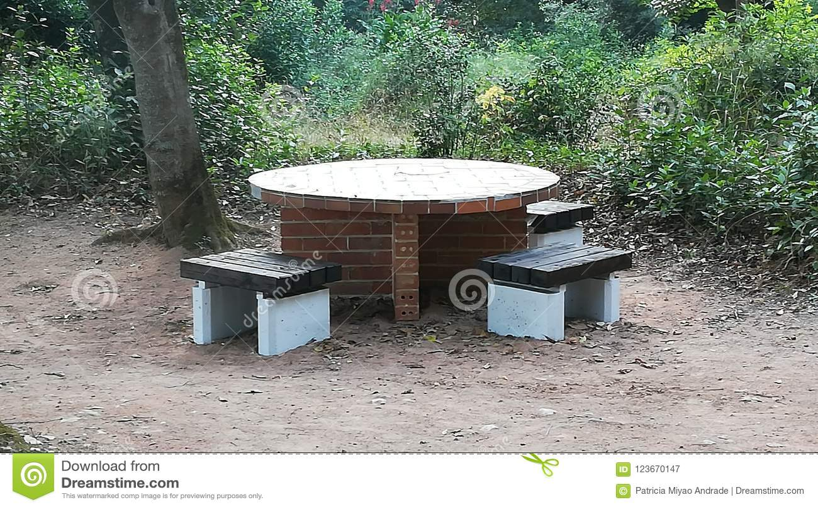 Picnic Table Stock Image Image Of Rainha Picnic Stone - Stone picnic table