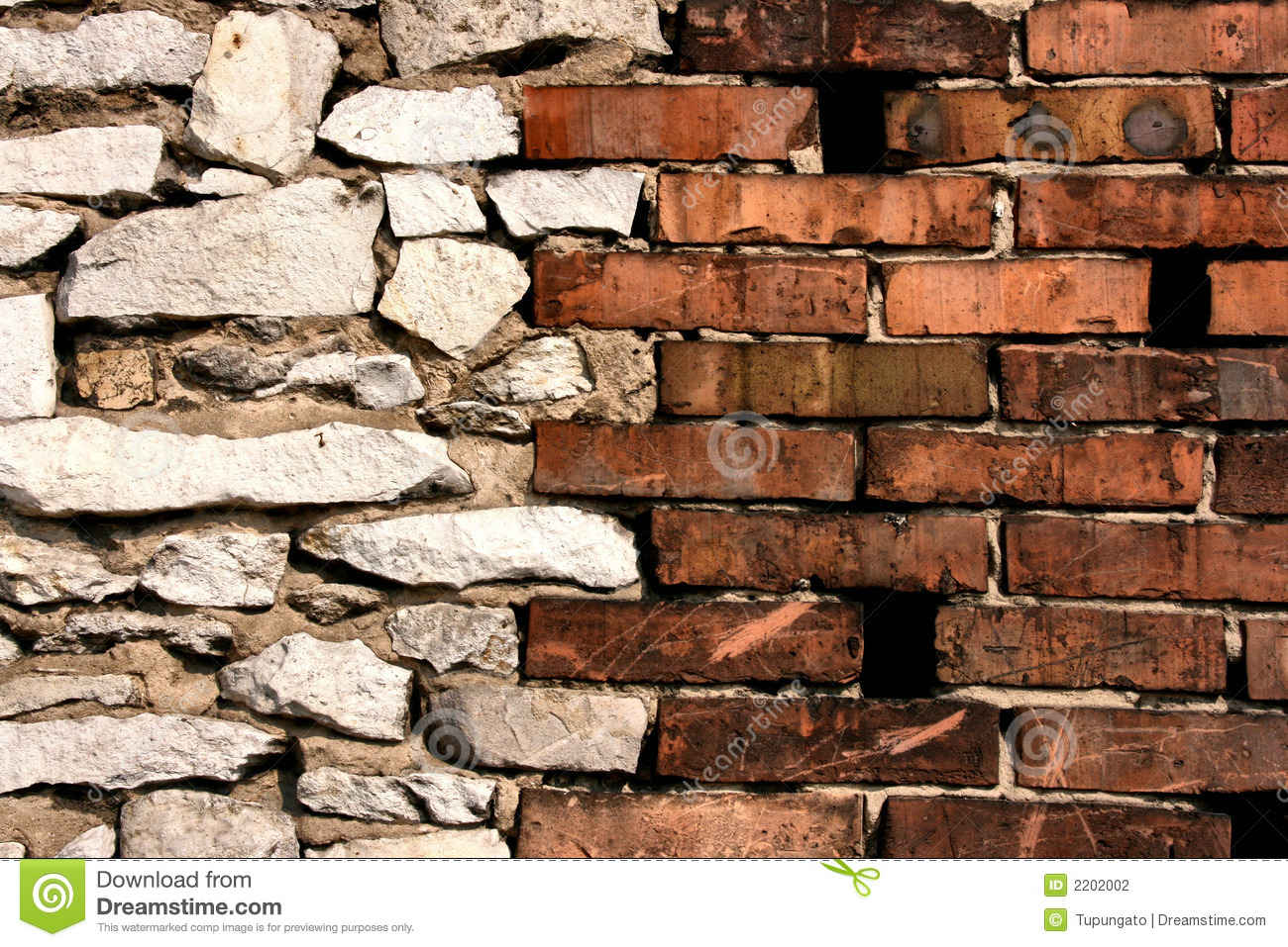 Brick and stone walls joint stock photo image 2202002 for Stone and brick