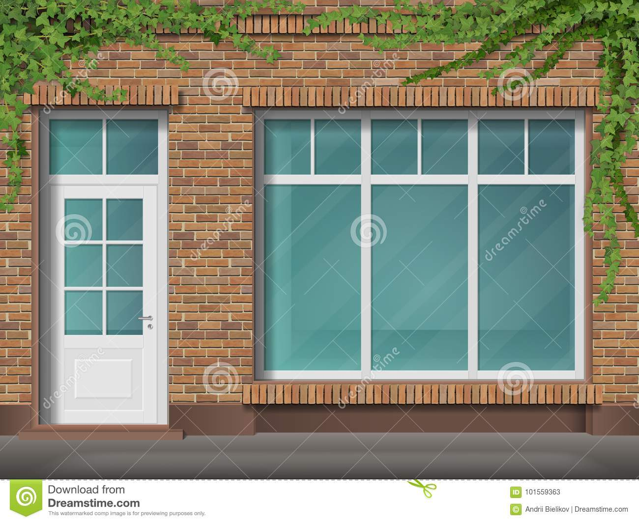 brick store front with large window and ivy stock vectorstore front with large transparent window facade of red brick empty glass showcase of boutique entrance in the small shop