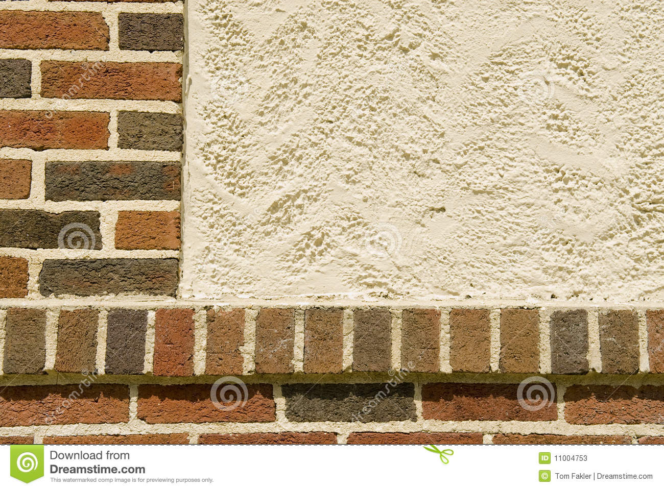 Brick and stucco facade stock photos image 11004753 for Stucco facade