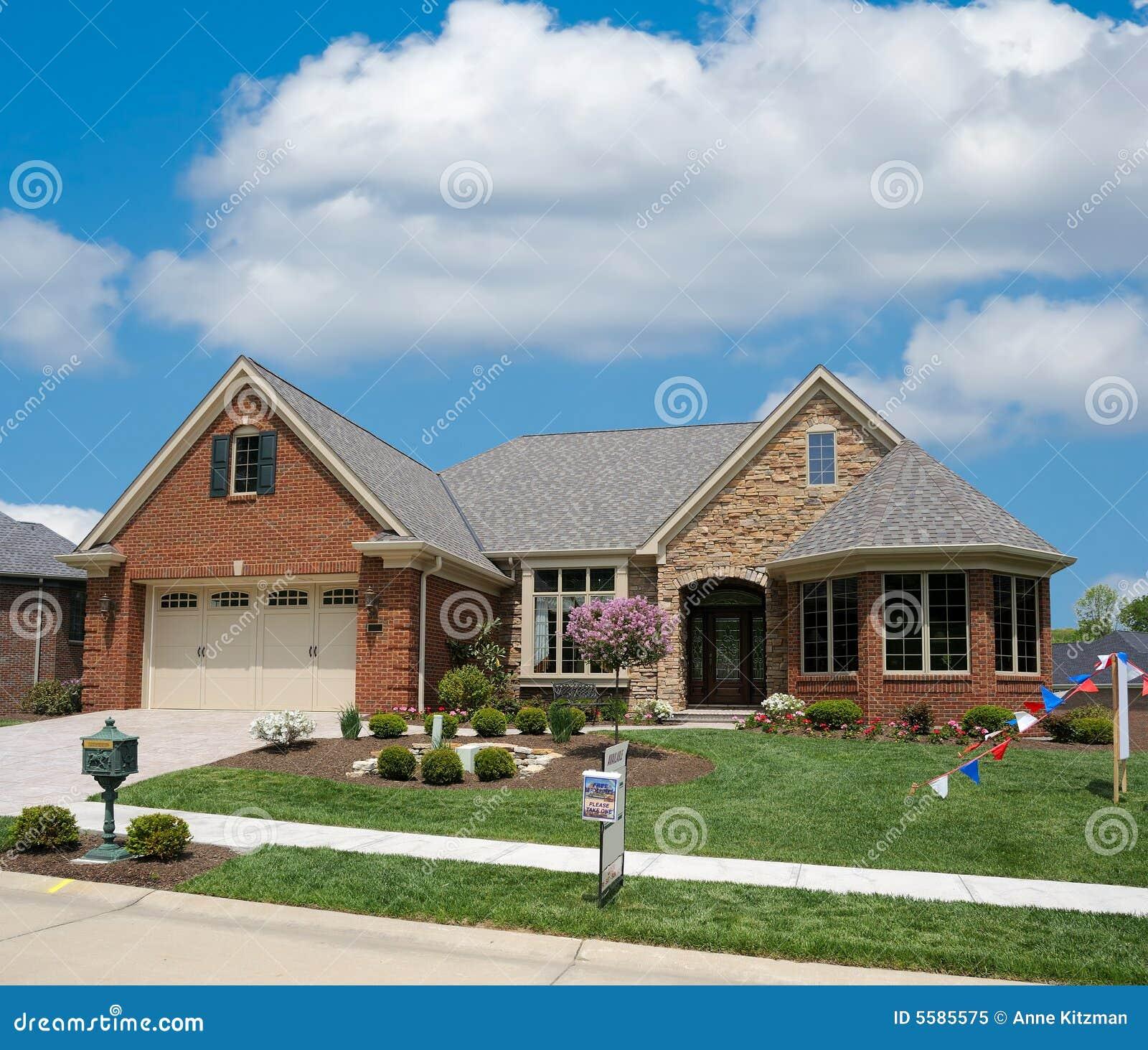 Brick Suburban Home Stock Image. Image Of Lawn, Yard