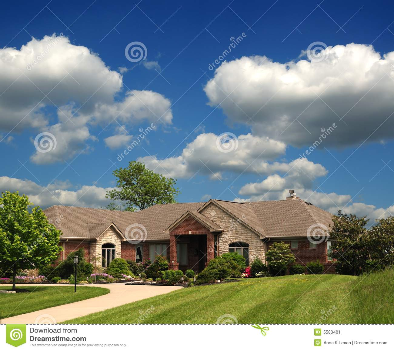 One Story Luxury Home: Brick Suburban Ranch Home Stock Image. Image Of Stone