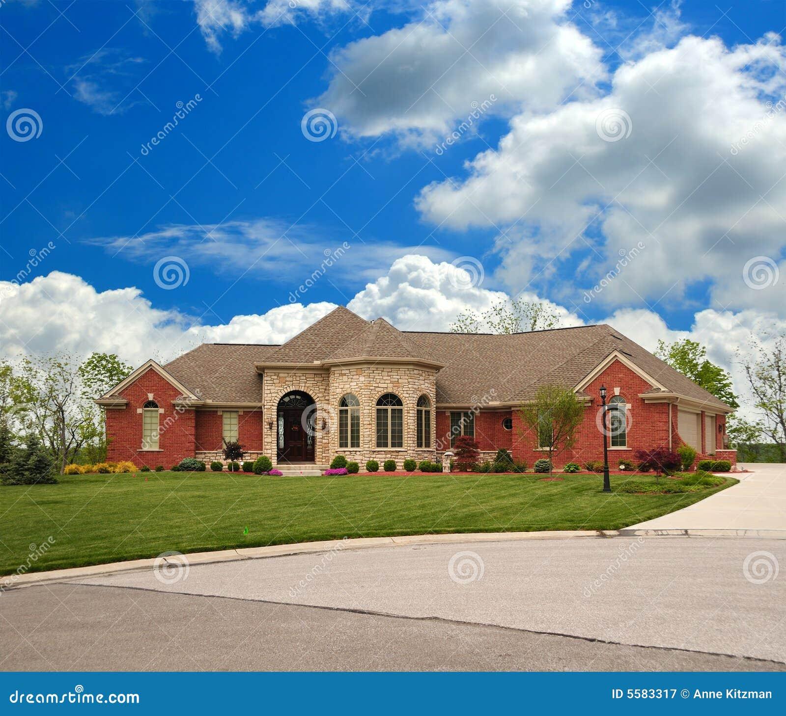 Luxury Brick Homes: Brick Suburban Ranch Home Stock Image. Image Of Real