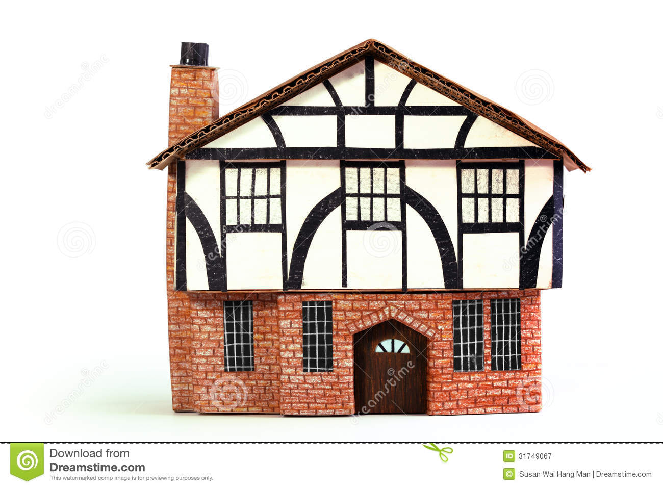 Timber Frame House Paper Model - Frontview Stock Image - Image of