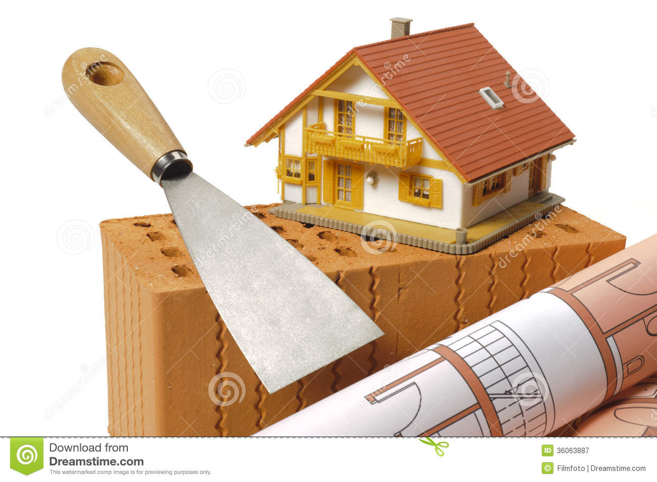 Brick and tools for house building royalty free stock Tools to build a house