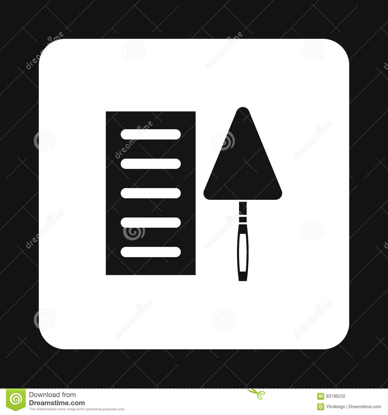 Masonry Trowel Black And White : Symbol brick and trowel vector illustration