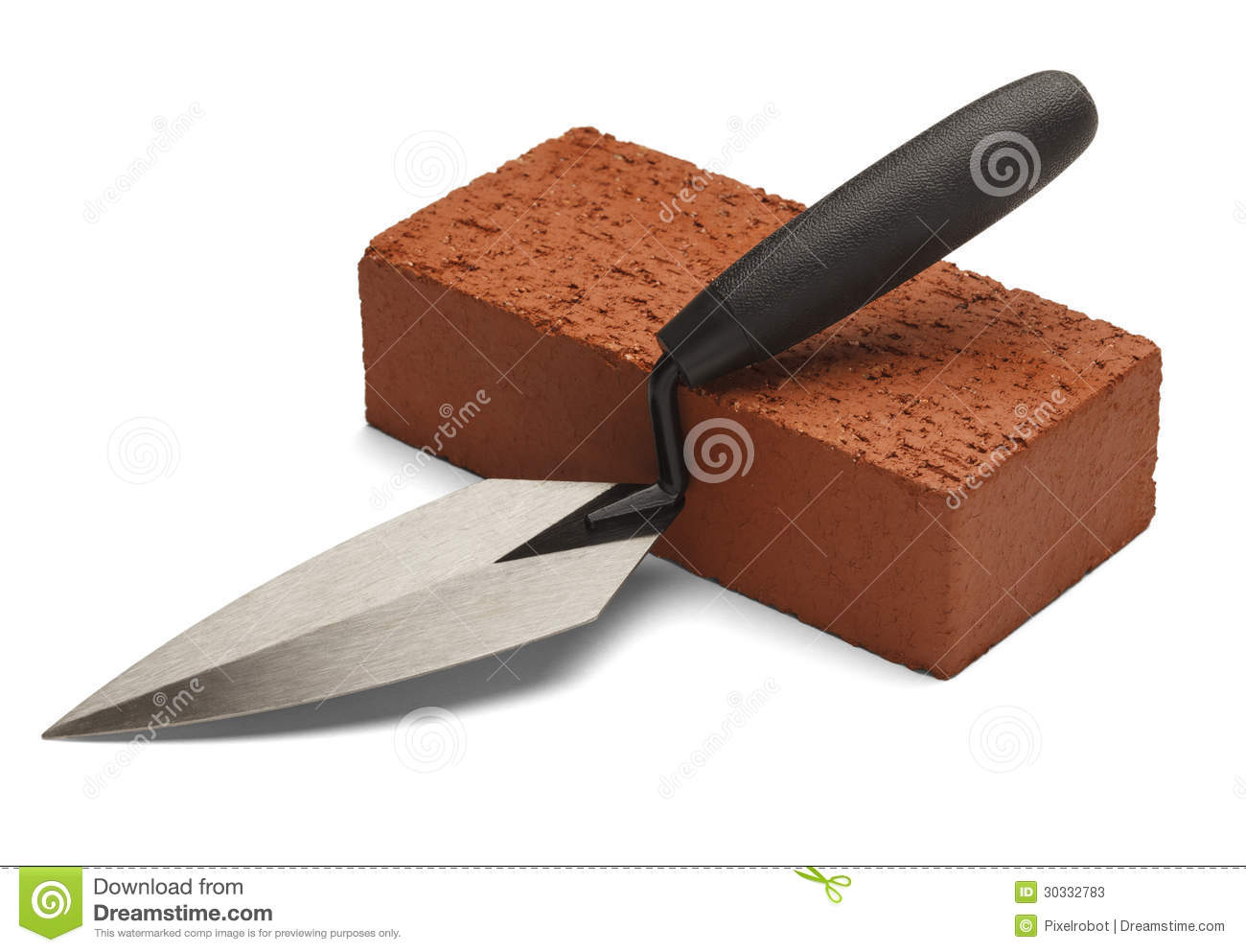 Masonry Trowel Black And White : Brick and trowel stock photos image