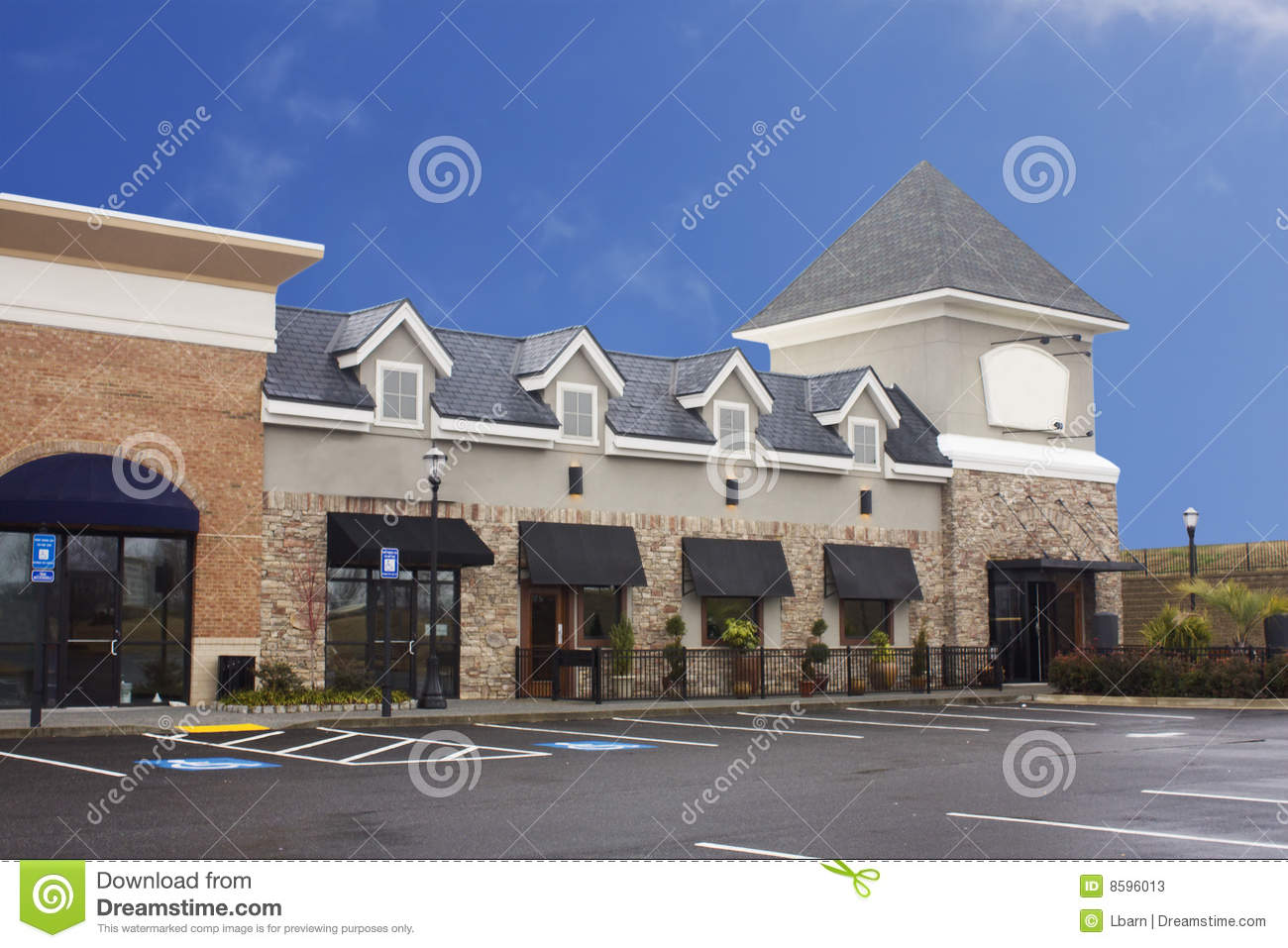 Brick Upscale Strip Mall Stock Image Image Of Shop