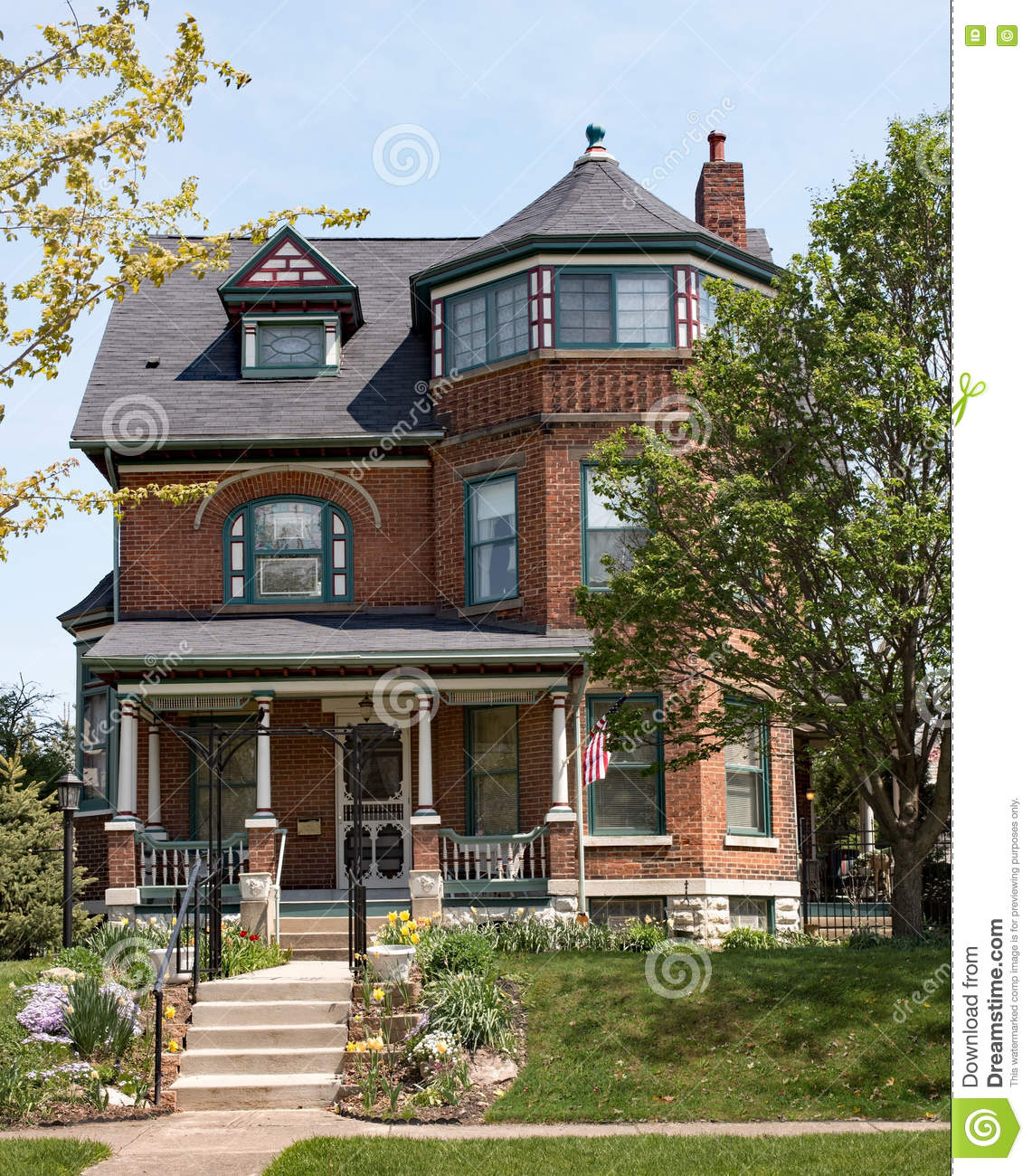 Brick victorian house with turret stock image image of for Brick victorian house
