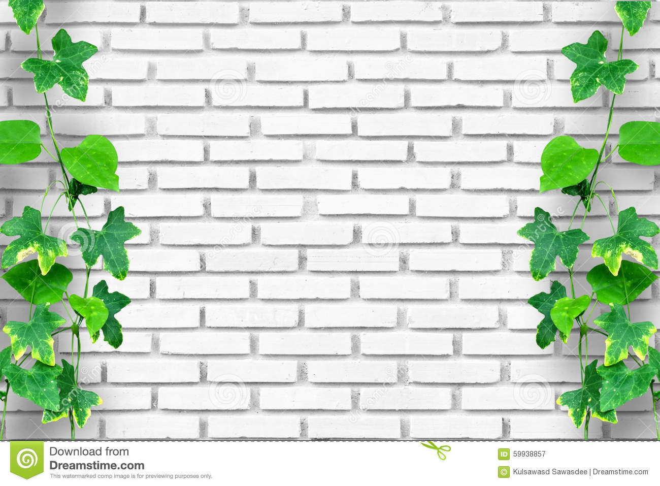 Brick Wall Background With Wood Floor And Creeping Plant Stock Image Image Of Building Green 59938857